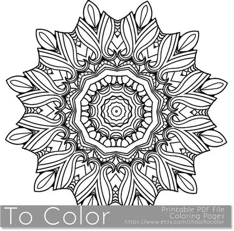 mandala coloring books for adults pdf items similar to printable coloring page for adults