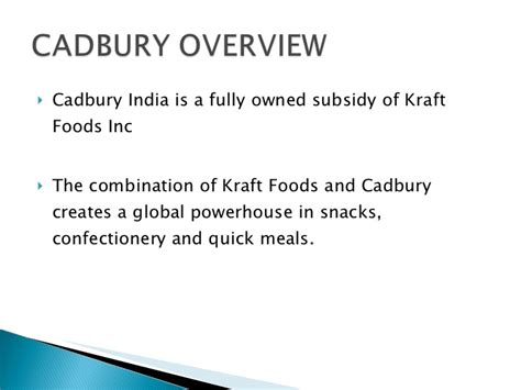 Kraft Foods Mba Program by Cadbury Research
