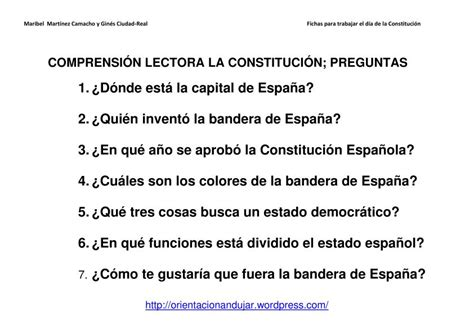 preguntas abiertas de ingles para secundaria actividades d 237 a de la constituci 243 n compresi 243 n lectora