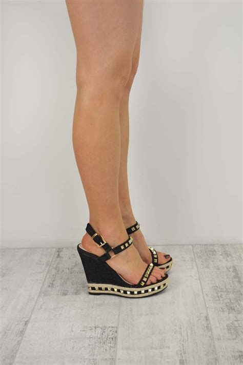 high heeled wedges black denim studded ankle wedge high heel sandals hera