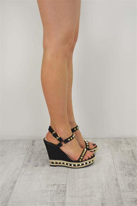 Black Denim Studded Ankle Wedge High Heel Sandals Hera