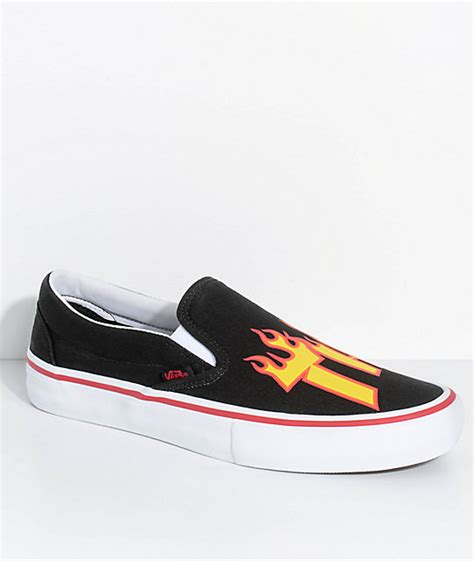 Vans X Thraser Vans X Thrasher Slip On Pro Black Skate Shoes Zumiez
