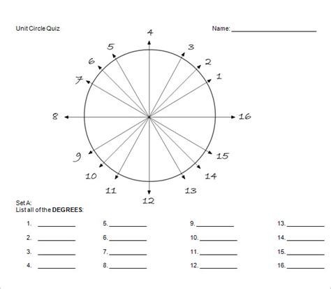 unit circle chart template 20 free word pdf format