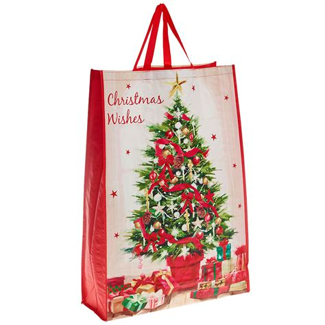 decorated christmas tree and presents christmas bag for