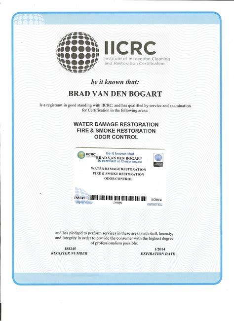 Cer Bathroom Odor Water Smoke And Odor Certificate