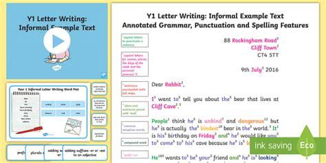 letter writing informal modelexample text english ks
