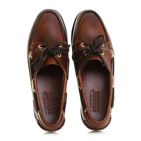 womens sebago victory brown waxy leather deck shoes