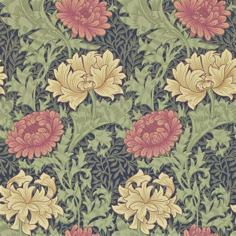 chrysanthemum wallpaper indigo  william morris