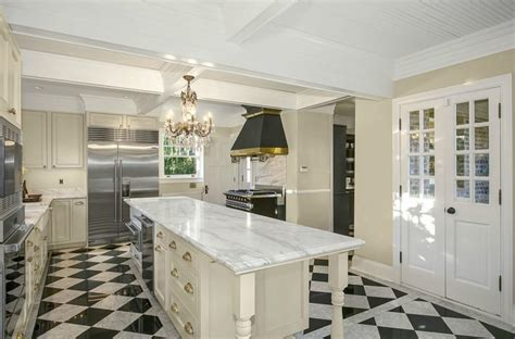 french bistro kitchen room design with checkerboard floors sprawling seattle landmark tudor mansion renovated