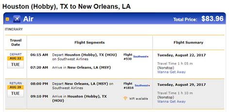 nonstop flights houston to from new orleans 84 100 r t southwest
