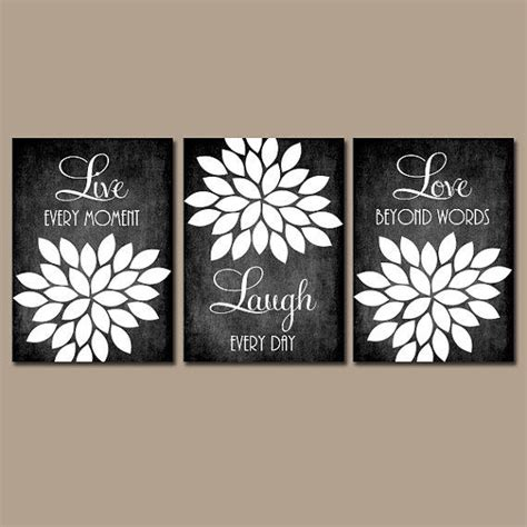 black and white bathroom wall art live laugh love wall art quote chalkboard from trm design