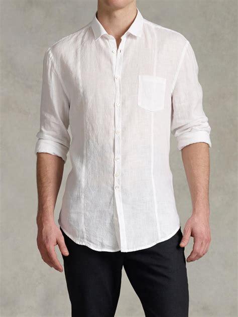 fresh fit linen john varvatos slim fit linen button up shirt in white for