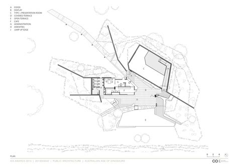 cox plan australian age of dinosaurs museum cox rayner architects