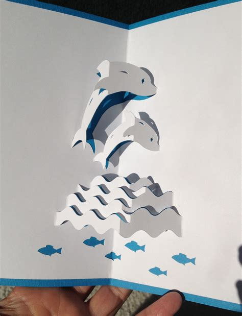 wave pop up card template dolphins in the waves pop up card pop up