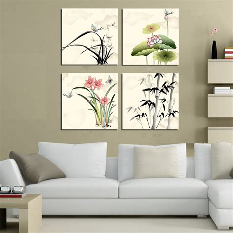 living room wall decor sets style 4 sets pictures modern painting mountain and tree canvas wall for