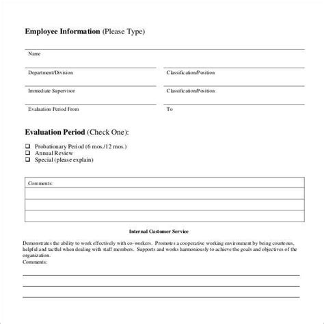 41 Sle Employee Evaluation Forms To Download Sle Templates Customer Service Employee Evaluation Template