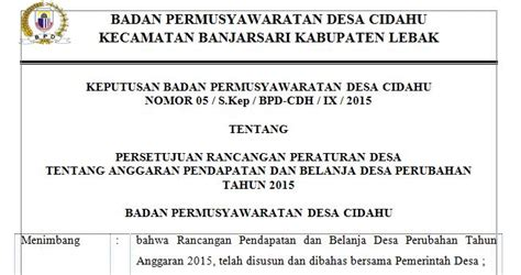surat keputusan bpd tentang apbdes perubahan menuju desa mandiri