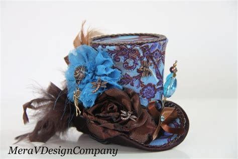 steunk mad hatter mini top hat brown brown teal mini top hat steunk hat tea party hat alice