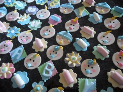 Handmade Cupcake Toppers - baby shower fondant toppers 94 x baby shower handmade
