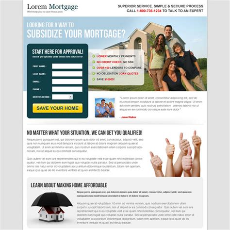mortgage landing page design templates for mortgage broker