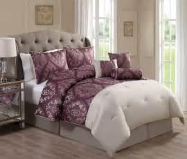 7 piece cordovan jacquard mauve beige comforter set