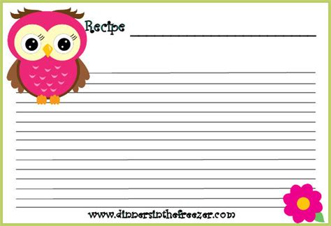 owl card template free freebie adorable owl printable recipe cards www