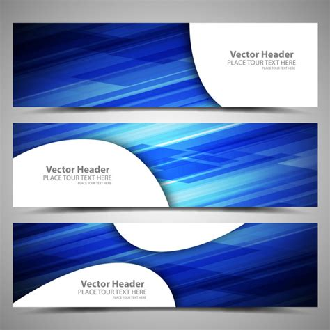 Set Blue Abstrak blue abstract background vector header sets free vector in