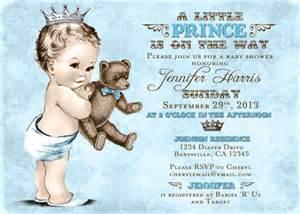 teddy bear baby shower invitation for boy prince crown