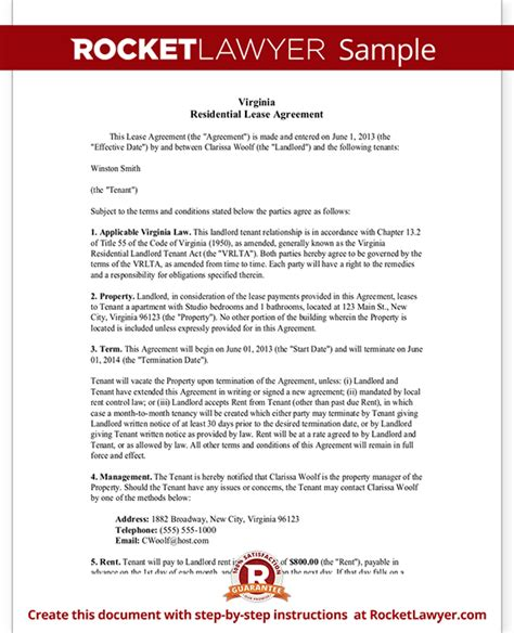 Virginia Lease Agreement Template Residential Lease Agreement With Sle Virginia Lease Template