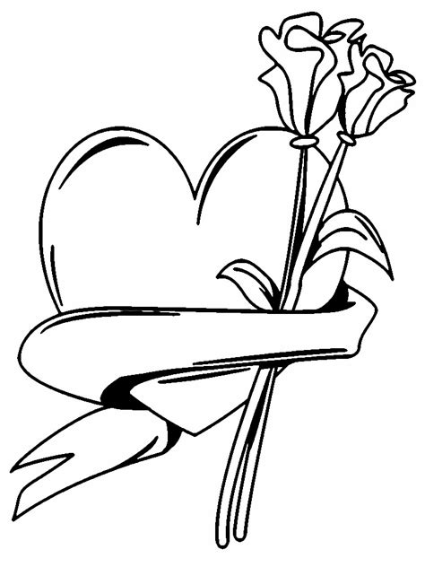 free coloring pages of hearts and flowers