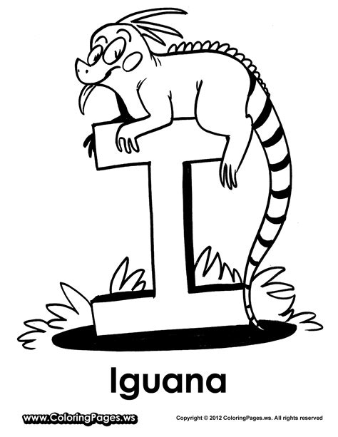 letter i is for iguana coloring page free printable i is for iguana coloring pages preschool pinterest