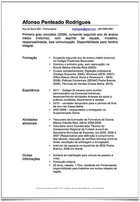 Modelo Curriculum Vitae Basico Experiencia Curr 237 Culo Para Quem N 227 O Tem Experiencia Profissional