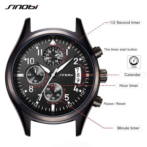 Jam Sinobi sinobi jam tangan pilot chrono pria 9639 black
