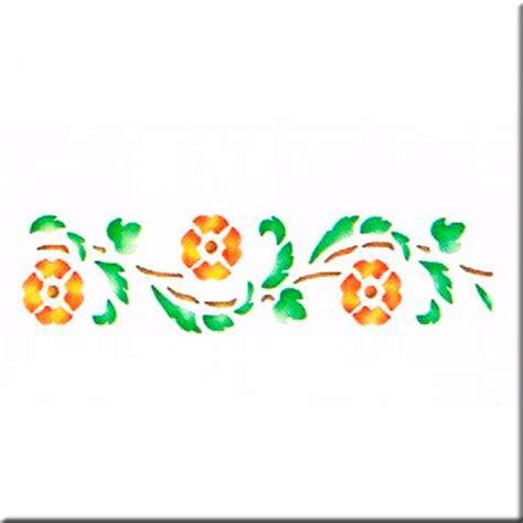 cenefa de flores plantilla estarcido cenefa hojas y flores