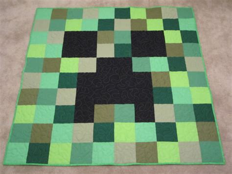 minecraft creeper comforter minecraft creeper pixel patchwork quilt green new handmade