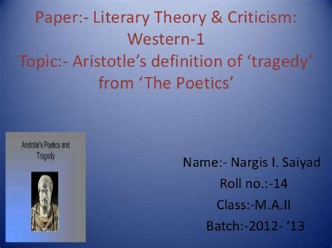 tragic themes in western literature aristotle s definition of tragedy