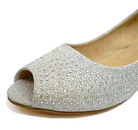 Silver Bridal Wedges by Silver Wedding Bridal Bridesmaid Peep Toe Prom