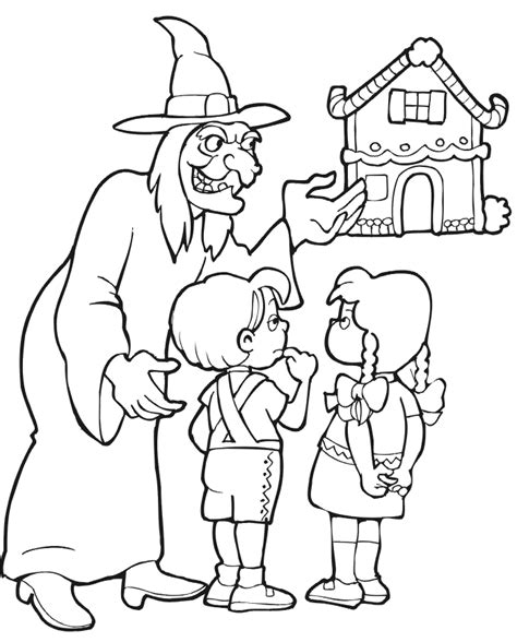 hansel and gretel coloring page luring kids to cottage