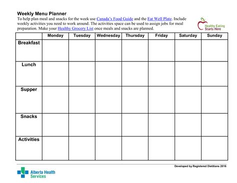 Weekly Menu Planner Printable