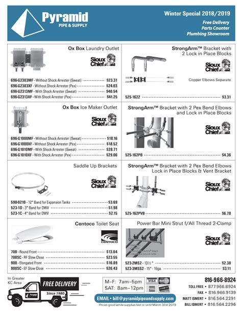 Pyramid Plumbing Supply by Pyramid Pipe Supply Plumbing Sales Flyer Winter 2018 Pg4