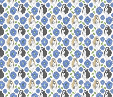 shih tzu fabric shih tzu and chrysanthemum blue fabric rusticcorgi spoonflower