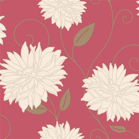 crown starflower floral wallpaper red  wallpaper