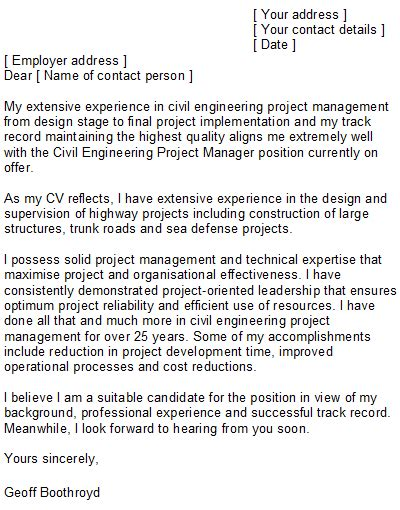 Civil Engineer Project Manager Cover Letter by Sle Civil Engineering Cover Letter