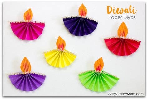Diwali Paper Craft - accordion fold diwali paper diya craft artsy craftsy