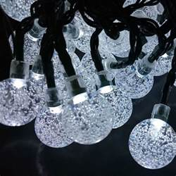 white solar string lights sunvao bright white solar powered globe string lights 30