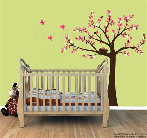 Baby Girl Nursery Tree Wall Decals Pink Leaves Wall Stickers Pink Wall Decals For Nursery
