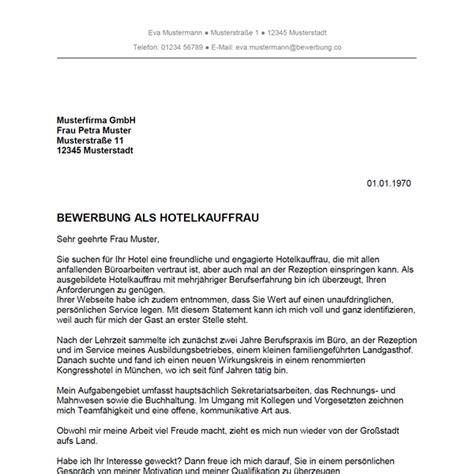 Anschreiben Bewerbung Muster Hotel Bewerbung Als Hotelkaufmann Hotelkauffrau Bewerbung Co