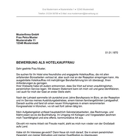 Bewerbung Fur Hotel Muster Bewerbung Als Hotelkaufmann Hotelkauffrau Bewerbung Co