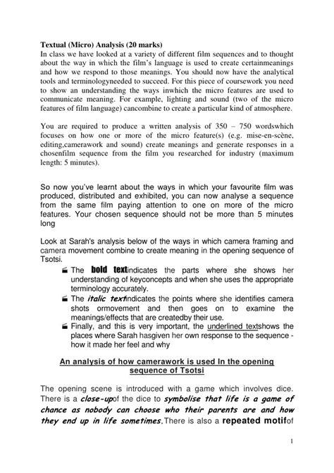 Tsotsi Essay by Gcse Studies Micro Analysis