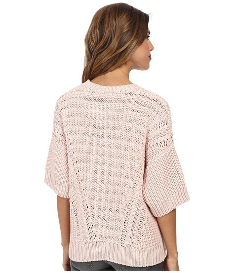 Sweater Stitch autumn boxy shaker stitch sweater in pink lyst